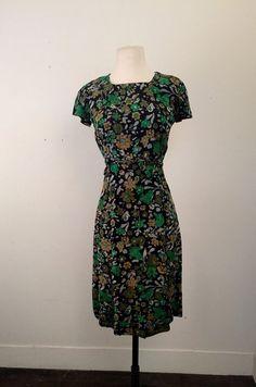 Vintage 1960's midnight floral silk dress  by BillyGoatVintage