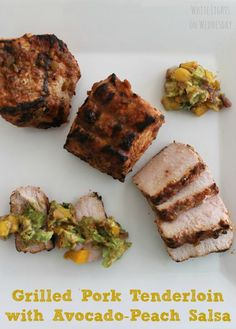 Grilled Pork Tenderloin with Avocado Peach Salsa is bursting with flavor! An easy grilling recipe will leave a smile on your face & full bellies all around! Entree Recipes, Grilling Recipes, Pork Recipes, Mexican Food Recipes, Cooking Recipes, Grilling Ideas, Dinner Recipes, Dinner Ideas, Family Recipes