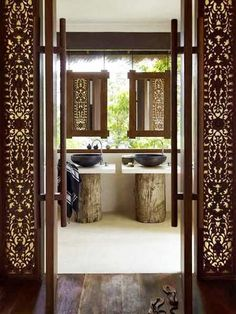 The inspiration - love this. Indoor/outdoor Balinese. 2nd upstairs bathroom.