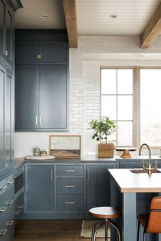 6 Cabinet Styles For Your Next Kitchen Reno blue shaker kitchen cabinets Shaker Kitchen Cabinets, Kitchen Cabinet Styles, Kitchen Reno, New Kitchen, Kitchen Remodel, Blue Shaker Kitchen, Blue Cabinets, Kitchen Islands, Kitchen Layout
