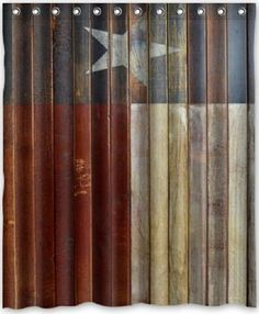 Western Shower Curtain Texas Star Fabric Bathroom Bath Decor Rings New Flag
