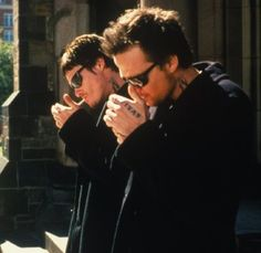 Norman Reedus and Sean Patrick Flanery as Murphy McManus and Connor McManus in The Boondock Saints.