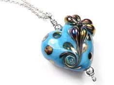 Lampwork Glass Pendant - Turquoise Flower Heart Glass Necklace, Pendant Necklace, Turquoise Flowers, Glass Pendants, Pretty Flowers, Sterling Silver Jewelry, Belly Button Rings, Heart, Metal