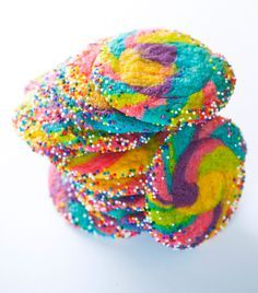 Rainbow sugar cookies.  Different colors for different seasons throughout the year?  Might have to try these for Easter or even 4th of July!