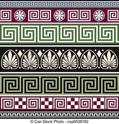 Vector - Conjunto, de, antigüedad, griego, Ornamentos - stock de ilustracion, ilustracion libre de, stock de iconos de clip art, logo, arte lineal, retrato de EPS, Retratos, gráficos, dibujos gráficos, dibujos, imágenes vectoriales, trabajo artístico, Arte Vectorial en EPS