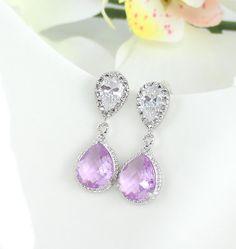 Lavender Drop Earrings, Lilac Wedding Bridal Jewelry, Purple Teardrop Earrings, Crystal Cubic Zirconia Bridesmaid Gift, Mothers Day Gift
