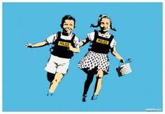 BANKSY - JACK AND JILL (POLICE KIDS) - KUNZT.GALLERY http://www.widewalls.ch/artwork/banksy/jack-and-jill-police-kids/ #Print