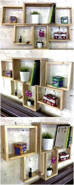 Pallet Shelves Projects recycled wood pallet shelves - It is wise to fulfill the furniture need of the home with the wood pallets and if you are surprised to hear it that the. Old Pallets, Recycled Pallets, Wooden Pallets, Recycled Wood, Repurposed, Pallet Crafts, Diy Pallet Projects, Woodworking Projects, Pallet Ideas