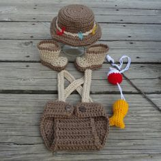 This is so adorable-Handmade Crochet Newborn - 3 Months Baby Fisherman Photo Prop Outfit Diaper Cover, Fishing Hat, Boots, Fish and Bobber Set Great Gift-
