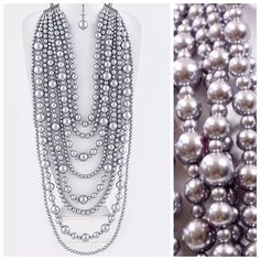 """TS Large Chunky Gray Faux Pearl Statement Necklace ‼️PRICE FIRM‼️   Faux Pearl Layered Statement Necklace  Retail $129   To say this necklace is spectacular would be an understatement!  It is divine & a true statement piece. The shortest layer of the necklace is approximately 31"""" long including 3"""" adjuster chain. The longest layer hangs down another 12"""" from the shortest layer.  Earrings hang down approximately 2.4"""". Sure to dress up even the most basic outfit! Custom Jewelry Necklaces"""