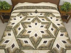 Diamond Star Log Cabin Quilt -- magnificent cleverly made Amish Quilts from Lancaster (hs6182)