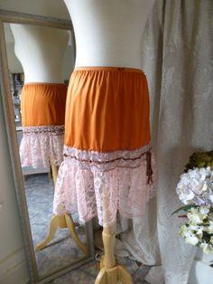 Glam Garb Slip Skirt Burnt Orange S/M Romantic Elegant by glamgarb, $50.00
