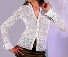Женская рубашка крючком. Схема вязания