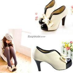 Beige Women Sexy High Heel Tie Platform Bow Pump Fashion Ankle Shoes Boot US 5 9 | eBay
