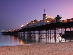 Generally known as the Palace Pier for short, The Brighton Marine Palace and Pier is a pleasure pier in Brighton, England. Work began on this famous structure as far as back as Photo: hozinja Brighton England, Brighton Inglaterra, Brighton Sussex, Palace, Royal Pavilion, Uk Beaches, Best Weekend Getaways, Romantic Things To Do, Seaside Resort