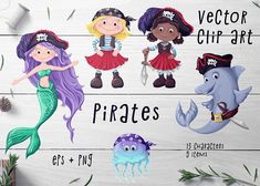 Pirates Set – Vector Clip Art (Graphic) by nicjulia · Creative Fabrica Mermaid Clipart, Header Image, Vector File, Craft Items, Handmade Crafts, Graphic Illustration, Pirates, Activities For Kids, How To Draw Hands