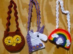 Purse Crochet Pattern, pattern pack includes instructions for an Owl purse, a Unicorn purse and a Rainbow purse. $7.99 http://crochetvillage.com//
