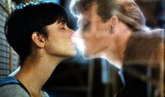 """One of the most memorable kissing scene of movie history, Patrick Swayze (Sam) and Demi Moore (Molly)'s final kiss from """"Ghost"""". Sam says: """"It's amazing, Molly. The love inside, you take it with you. I'll see you! Patrick Swayze, Famous Movies, Iconic Movies, Classic Movies, Cult Movies, Famous Movie Scenes, Demi Moore, Movie Blog, Movie Tv"""