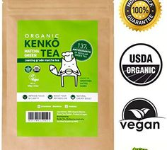 Kenko Matcha Green Tea Powder [USDA Organic] Culinary Grade Matcha Powder for Lattes, Smoothies and Baking [100g Bag = 50 Servings]   Tea Coffee Store
