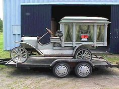 Forward thinking undertakers would often transfer the body of their horse-drawn hearse to a motorized chassis creating some of the first motorized hearses in the county.  This example was made around 1912 by taking on 1890's horse-drawn hearse body and placing it on a Model T chassis