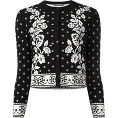 Alexander McQueen floral jacquard cardigan (9,475 GTQ) ❤ liked on Polyvore featuring tops, cardigans, jackets, outerwear, skirts, floral print tops, 3 4 sleeve crop top, ribbed top, floral cardigan and floral crop tops