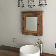 Items similar to barn wood cabinet with corrugated steel made from barn wood on Etsy Rustic Medicine Cabinets, Barn Wood Cabinets, Easy Wall, Pipe Lamp, Photo On Wood, Rustic Barn, Amazing Bathrooms, Open Shelving, Solid Oak