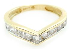 14k Gold 1cttw Round Brilliant Cut Diamond Chevron Band Ring Size 6.5 No Reserve