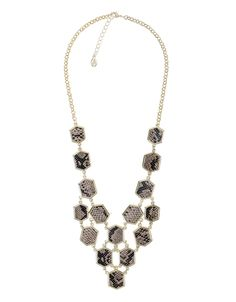 Hexagonal Snakeskin Statement Necklace