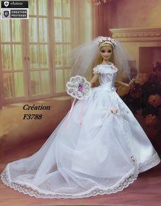 """Robe Barbie """" Mariée N°21 """" Tenue  pour Barbie Silkstone et autres f3788"""