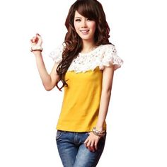 Allegra K Ladies Elastic Neckline Formfitting Pullover Blouse Yellow XS Allegra K. $9.04
