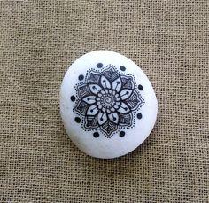 Mandala Painted White Pebble by MagaMerlina on Etsy, $20.00