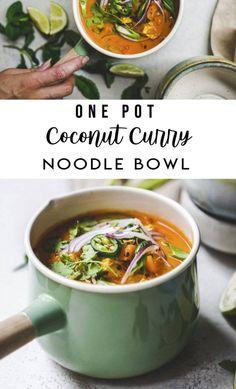 One Pot Coconut Curry Noodle Bowl - FoodByMaria soup healthy recipes rezepte soup soup Soup Recipes, Vegetarian Recipes, Cooking Recipes, Dinner Recipes, Vegetarian Soup, Skillet Recipes, Healthy Recipes, Cooking Gadgets, Noodle Recipes