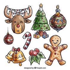Pack of hand drawn watercolor christmas elements  Free Vector