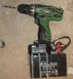 Modified Battery for Cordless Drill by pashanoid -- Homemade extended use battery for a cordless drill fabricated from a repurposed UPS (Uninterruptible Power Supply). http://www.homemadetools.net/homemade-modified-battery-for-cordless-drill