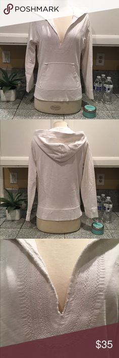 J.Crew French Terry Hodie Cute and Comfy hoodie in White French Terry. White embroidered detail in front and around the hood area. The perfect piece to wear to the beach or just in the town. In very good used condition. The size is Large but fits more like a medium. J. Crew Sweaters