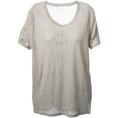 Iro distressed T-shirt ($135) ❤ liked on Polyvore featuring tops, t-shirts, shirts, blusas, tees, linen shirt, linen tops, torn t shirt, shirts & tops and linen tee