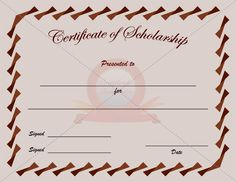 College Scholarship Certificate Template  Scholarship Certificate