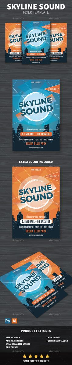 Skyline Sound Flyer Template PSD, AI