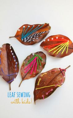 Make Beautiful Leaf Sewing Art with Kids How to Sew on Leaves with Kids- Easy and beautiful yarn art! If you have a passion for arts and crafts you actually will really like this website! Easy Fall Crafts, Crafts To Do, Crafts For Kids, Arts And Crafts, Diy Nature, Nature Crafts, Autumn Activities, Art Activities, Land Art
