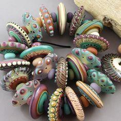 Magma Beads ~Large disks~ Handmade Lampwork Beads. #Lampwork