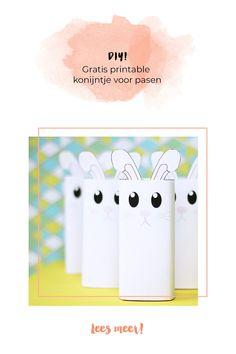 Deze superleuke konijntjes kun je met onze gratis printable zelf in elkaar knutselen voor Pasen!  #minime #pasen #paasfeest #kinderen #paaseitjes #diy #knutselen Diys, Container, Bricolage, Do It Yourself, Fai Da Te, Canisters, Diy