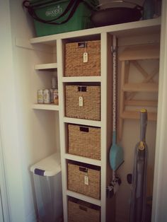Ooh, perfect for the closet off the kitchen! Half of the closet cubbies with bins for cleaning products, rags, maybe the grilling and gardening tools. The other half tall storage for stepstool, vacuum, mop and broom. Apron hooks inside the door.