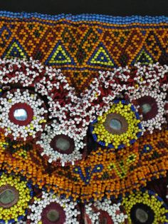 One of a kind hand-beaded large Afghan traditional panel with 2 rows of ornately crafted phuls.