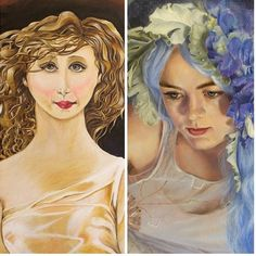 It's been 6 years since I started painting from scratch. The left is my first painting and the right is a piece from 2015. For aspiring artists don't give up on your dreams and don't let anyone tell you, you can't do it (especially yourself). ❤️ #nowgopaint -Kari Lisa