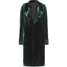Haider Ackermann Velvet Coat ($2,790) ❤ liked on Polyvore featuring outerwear, coats, green, haider ackermann, green coat, green velvet coat and velvet coat