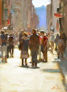 Colorado based painter, Kim English, depicts in his paintings the simple beauty found in daily life. Known for his mastery of chiaroscuro, each piece speaks to the true focus of English's inspiration the harmony existing between light and shadow. Kim English, Urban Landscape, Landscape Art, Landscape Paintings, Painting People, Figure Painting, English Artists, Klimt, City Art