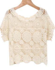 Apricot Short Sleeve Floral Crochet Lace Blouse - Sheinside.com