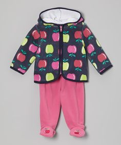 Look what I found on #zulily! Navy Apple Hoodie & Pink Footie Pants - Infant #zulilyfinds