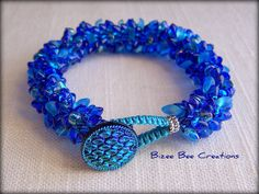Sapphire Blue Bracelet, Kumihimo by bizeebeecreations, via Flickr like how the loop was finished with knots