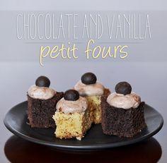 Chocolate and vanilla petit fours #chocolate #vanilla #petitfours